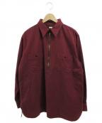 ATLAST & CO(アットラスト)の古着「シャモアハーフプルオーバーシャツ」 ボルドー