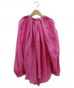 BLAMINK(ブラミンク)の古着「シルクギャザーブラウス」|ピンク