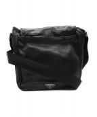 ()の古着「オールレザーフラップショルダーバッグ」|ブラック