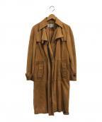 自由区()の古着「ラムレザートレンチコート」|ブラウン