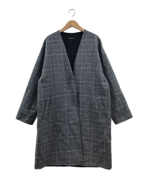 INDIVI(インディビ)INDIVI (インディビ) ノーカラーVネックリバーコート グレー サイズ:40の古着・服飾アイテム