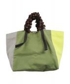 ()の古着「ブロックカラーフリルハンドルトートバッグ」|イエロー×グリーン