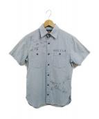 RRL(ダブルアールエル)の古着「グラフィックスリムコットンシャンブレーシャツ」|ブルー