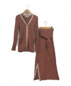 REDYAZEL(レディアゼル)の古着「リブニットセットアップ」|ブラウン