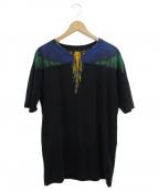 MARCELO BURLON(マルセロバーロン)の古着「フェザープリントTシャツ」|ブラック