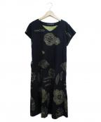 PALLAS PALACE(パラスパレス)の古着「フラワー刺繍ワンピース」|ネイビー
