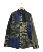 DIESEL(ディーゼル)の古着「カモフラ切替パターンシャツ」|オリーブ