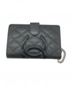 CHANEL()の古着「カンボン2つ折り財布」|ブラック