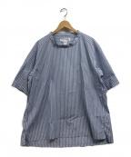 COMME des GARCONS SHIRT BOY(コムデギャルソンシャツ ボーイ)の古着「半袖ストライプシャツ」 ブルー