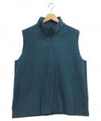 HOMME PLISSE ISSEY MIYAKE(オムプリッセイッセイミヤケ)の古着「プリーツジップベスト」 ブルー
