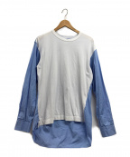 COMME des GARCONS SHIRT(コムデギャルソンシャツ)の古着「切替カットソー」|ブルー×ホワイト