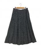 Leilian(レリアン)の古着「ドットプリーツスカート」 ホワイト×ブラック