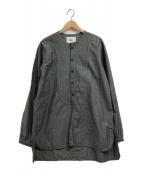 ()の古着「ノーカラープリーツシャツ」|グレー
