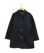 ()の古着「1枚仕立ダブルフェイスラナウールコート」 ネイビー×ブラウン