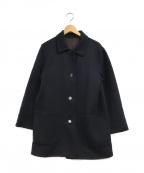 Salvatore Ferragamo()の古着「1枚仕立ダブルフェイスラナウールコート」|ネイビー×ブラウン
