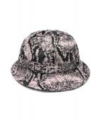 ()の古着「Snakeskin Corduroy Bell Hat」|ピンク×ホワイト