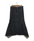 ()の古着「アシンメトリーデニムフレアスカート」 ブラック