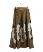 peu pres(プープレ)の古着「バードプリントスカート」|ブラウン×ブラック