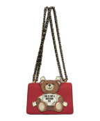 MOSCHINO(モスキーノ)の古着「テディベアパネル チェーンショルダーバッグ」|ピンク
