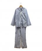 BROOKS BROTHERS(ブルックスブラザーズ)の古着「セットアップパジャマシャツボトムス」|ホワイト×ブルー