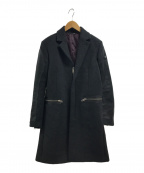 DIESEL(ディーゼル)の古着「ジップフライフロント 比翼 ウールロングコート」 ブラック