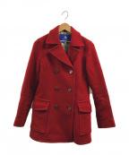 BURBERRY BLUE LABEL(バーバリーブルーレーベル)の古着「裏ノバチェックPコート」|レッド