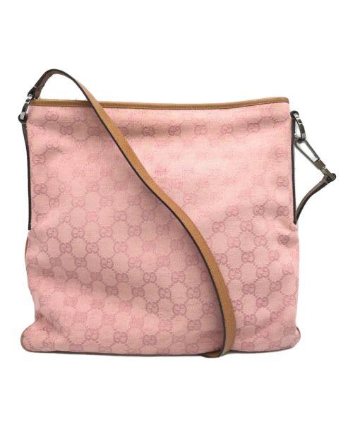 GUCCI(グッチ)GUCCI (グッチ) GGキャンバスショルダーバッグ ピンクの古着・服飾アイテム