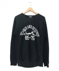 Hysteric Glamour(ヒステリックグラマー)の古着「SEARCH AND DESTROYスウェット」 ブラック