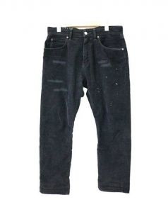 R.H.Vintage(ロンハーマン・ヴィンテージ)の古着「ペイント加工コーデュロイパンツ」|ブラック