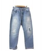 BLUE BLUE(ブルーブルー)の古着「リペアデニムパンツ」|スカイブルー