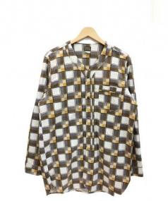 PIG&ROOSTER(ピッグアンドルースター)の古着「ノーカラーネルシャツ」|ブラウン