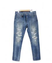 DENHAM(デンハム)の古着「ダメージ加工デニムパンツ」 ブルー