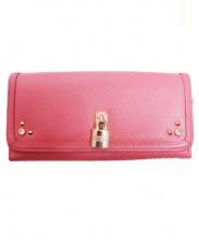 Samantha Thavasa PETIT CHOICE(サマンサタバサプチチョイス)の古着「ラインストーン2つ折り財布」|ピンク