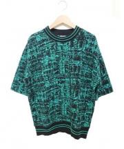 Sandro(サンドロ)の古着「半袖クルーネックニット」|グリーン×ブラック