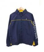 NAUTICA(ノーティカ)の古着「ロゴスリーブナイロンジャケット」|イエロー×ネイビー