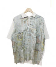 ETRO(エトロ)の古着「切替シルクポロシャツ」 アイボリー×ダスティーブルー