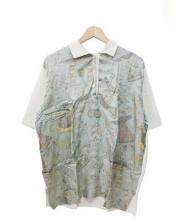 ETRO(エトロ)の古着「切替シルクポロシャツ」|アイボリー ダスティーブルー