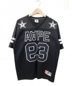 A BATHING APE(ア ベイシング エイプ)の古着「フットボールシャツ」|ブラック