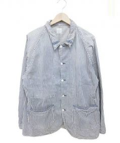 PORTER CLASSIC(ポータークラシック)の古着「ヒッコリーカバーオール」|ネイビー×ホワイト