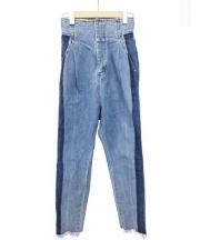 mame kurogouchi(マメ クロゴウチ)の古着「Bi-Color Denim Tapered Pants」|インディゴ