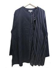 Yohji Yamamoto(ヨウジヤマモト)の古着「ノーカラーレイヤードシャツジャケット」 ブラック