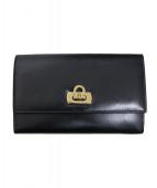 Salvatore Ferragamo(サルヴァトーレフェラガモ)の古着「ガンチーニ2つ折り財布」 ブラック