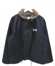HOUSTON(ヒューストン)の古着「N-1ジャケット」|ブラック×ブラウン