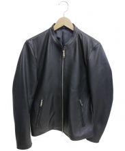 STUDIOUS(ステュディオス)の古着「ラムレザーシングルライダースジャケット」|ブラック