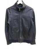 Shama(シャマ)の古着「レザートラックジャケット」|ブラック
