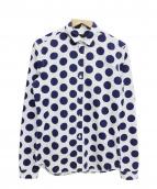 BURBERRY PRORSUM(バーバリープローサム)の古着「ドット柄シャツ」|ホワイト×ネイビー