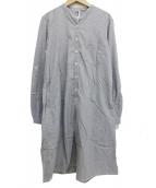 MHL.(エムエイチエル)の古着「バンドカラーシャツワンピース」|グレー