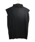 ISSEY MIYAKE(イッセイミヤケ)の古着「ハイネックプリーツブラウス」|ブラック
