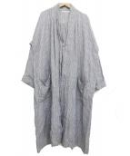 fog linen work(フォグリネンワーク)の古着「ロングコート」|グレー×ホワイト