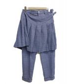 COMME des GARCONS HommePlus(コムデギャルソンオムプリュス)の古着「グレンチェックラップスカート付スラックス」|ブルー